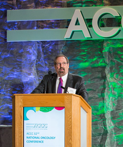 ACCC President Steven D'Amato, BSPharm, BCOP, welcomes attendees to National Oncology Conference
